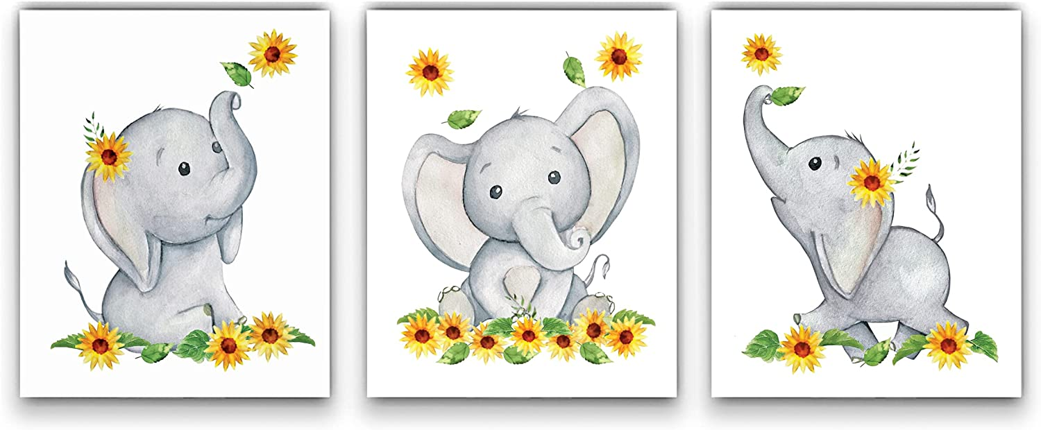 Elephant and Sunflower Nursery Decor Wall Art -SET of 3 8x10 UNFRAMED Watercolor Nursery Prints will fit perfectly with your Baby Elephant Nursery Decor and Sunflower Baby Stuff! MADE IN USA