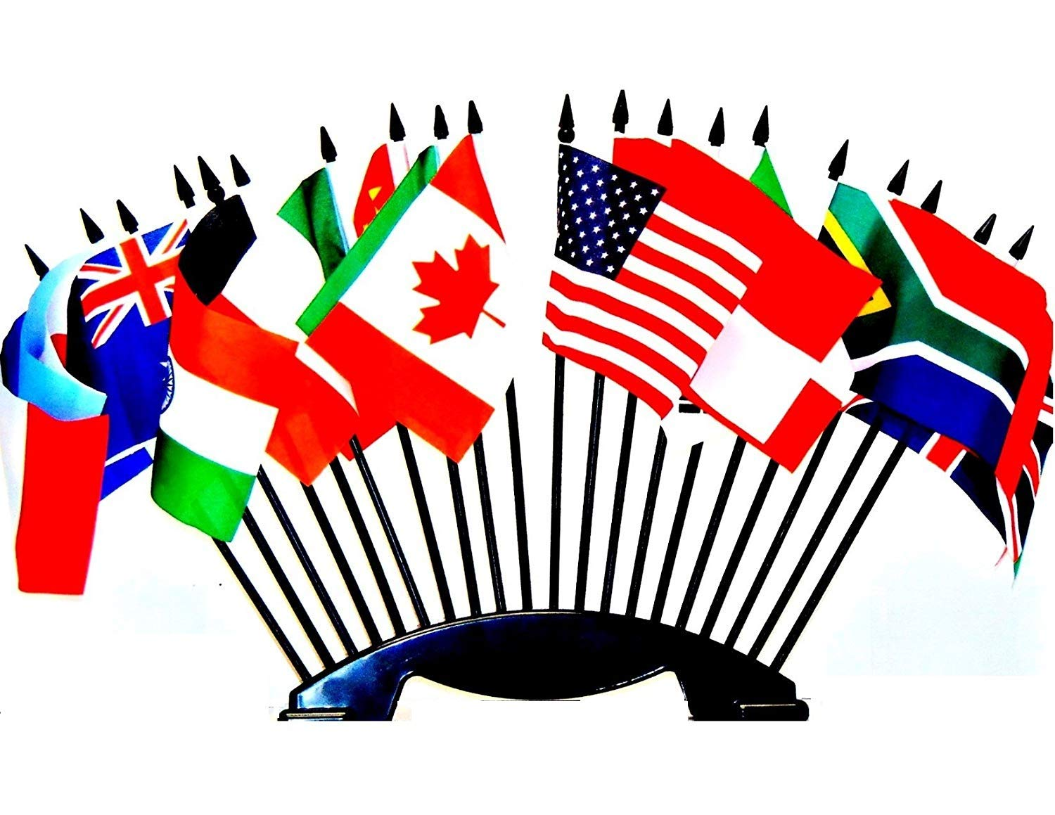G-20 (Group of 20) World Flag Set with BASE-20 Polyester 4''x6'' Flags, One Flag for Each Country in in The G-20, 4x6 Miniature Desk & Table Flags, Small Mini Stick Flags