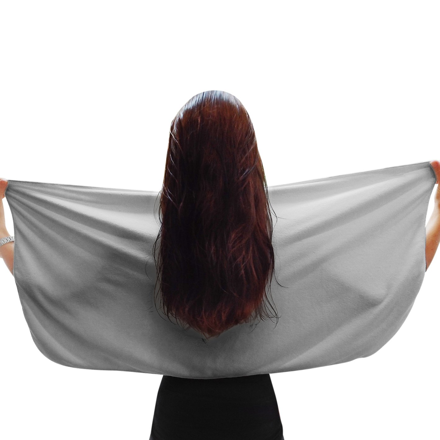Luxe Beauty Essentials Microfiber Hair Towel For Drying Curly, Long & Thick Hair- Large 20 x 40 Grey by Luxe Beauty Essentials (Image #4)
