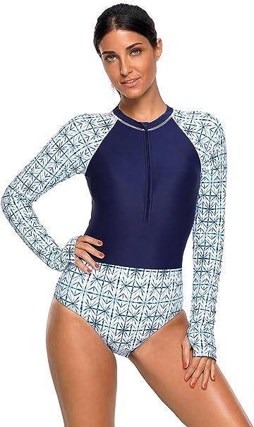 Femmes manches longues Zip Maillot De Bain Protection UV Imprimé Surf Maillot de bain Swimwear