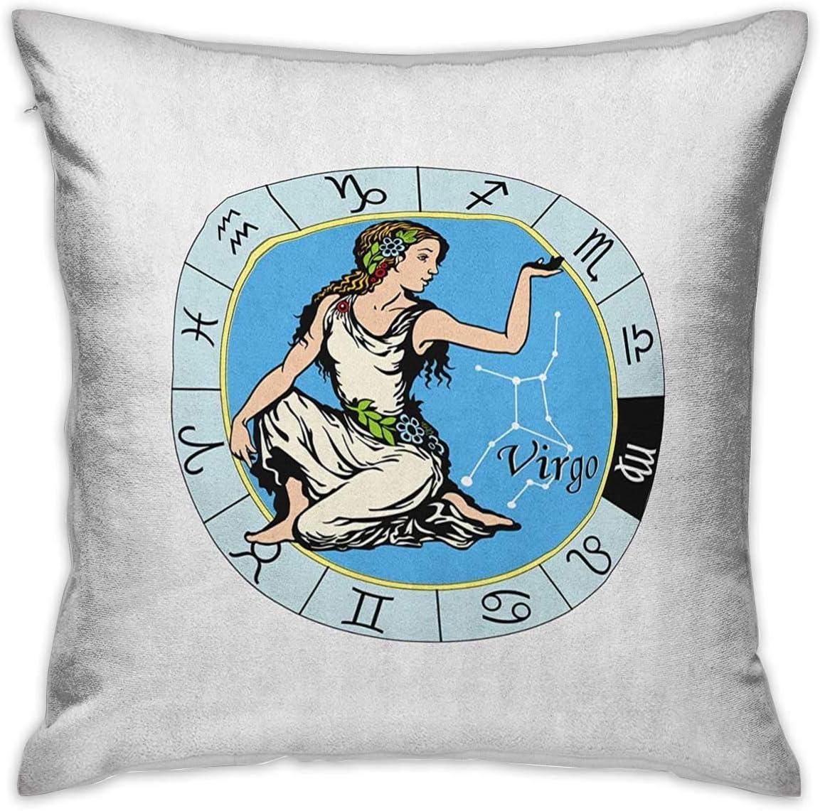 Funda de almohada personalizada Virgo Square Signo del zodiaco astrológico con mujer sosteniendo su mano con un vestido blanco fresco Flores Fundas de cojines multicolores Fundas de almohada para sofá