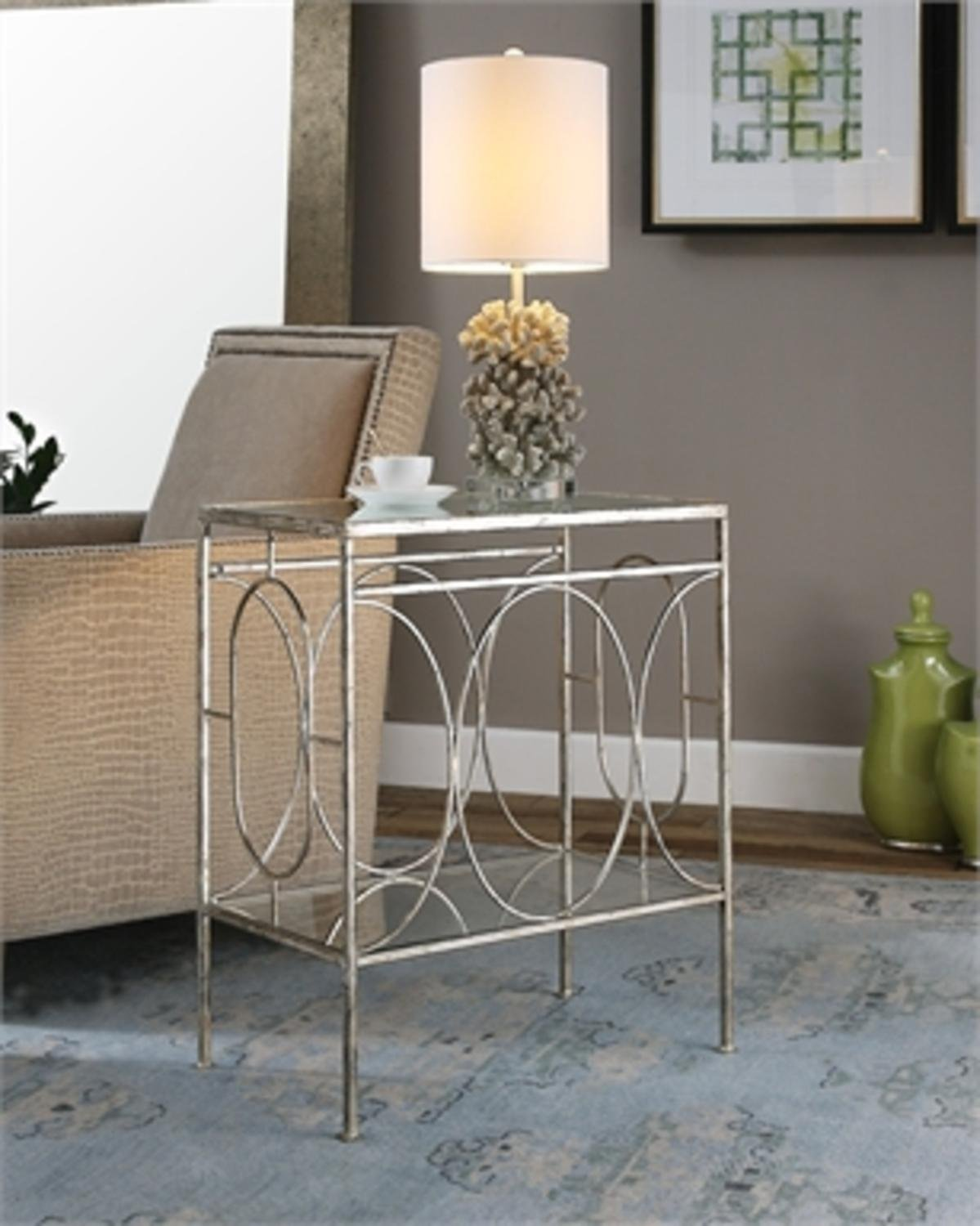 48'' Geometrically Inspired Heavily Distressed Silver Leafed Iron 2-Tier Decorative End Table