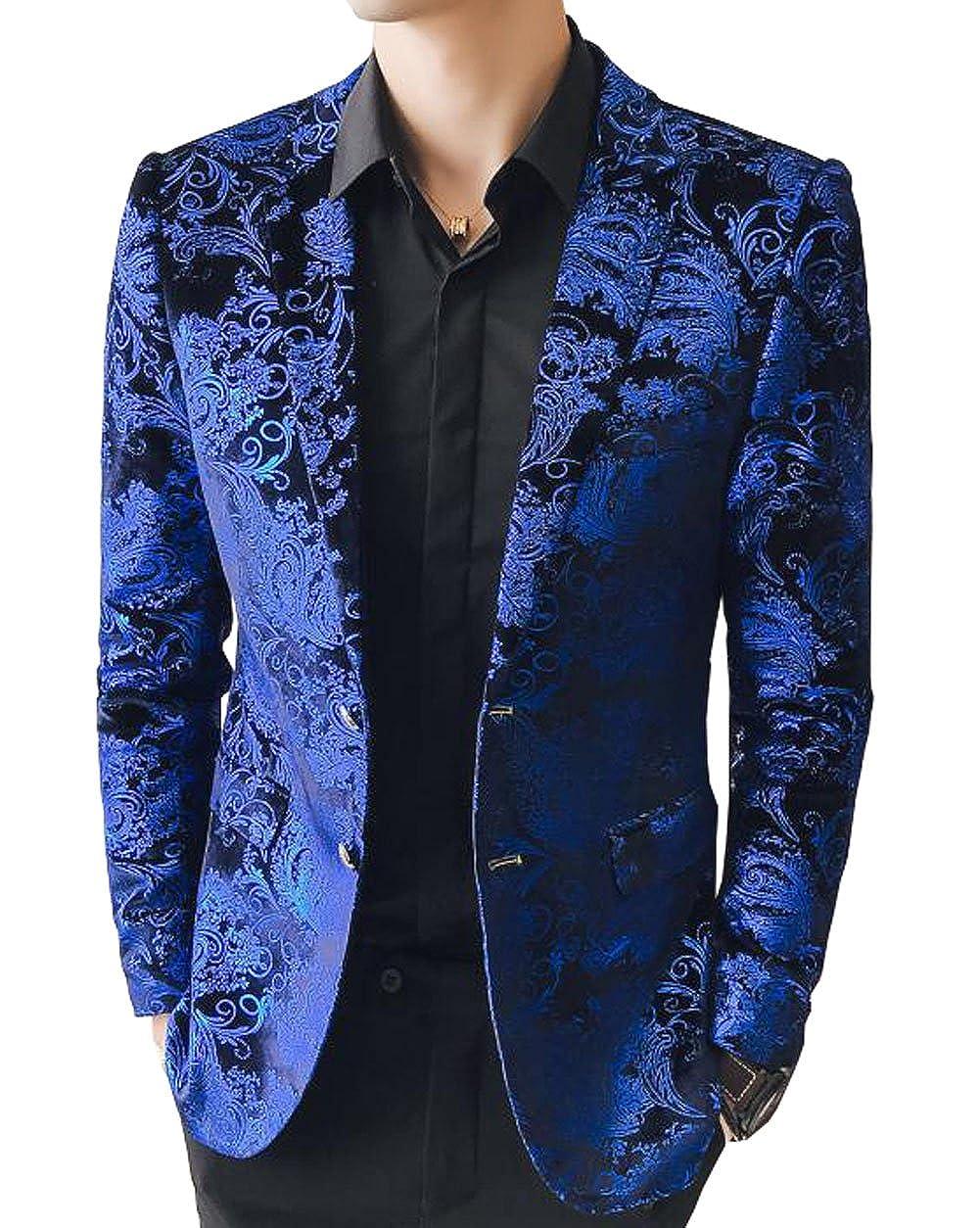 OUYE Uomo Giacca Casual Luxury Blu Oro Stampata Blazer