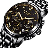 LIGE Mens Watches Black Stainless Steel Chronograph Analog Quartz Watch Men Luxury Fashion Military Sports Waterproof Gents Business Dress Wristwatch With Black Gold