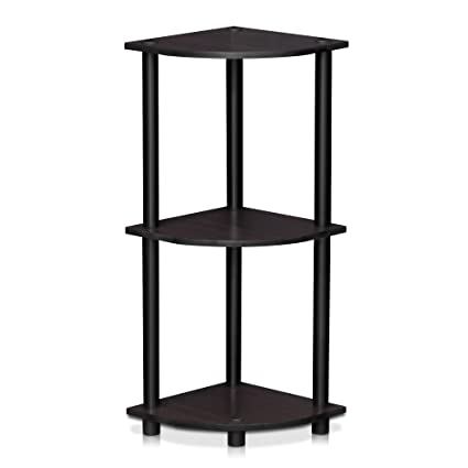 Furinno 12077DWN Turn N Tube 3 Tier Corner Display Rack Multipurpose Shelving  Unit