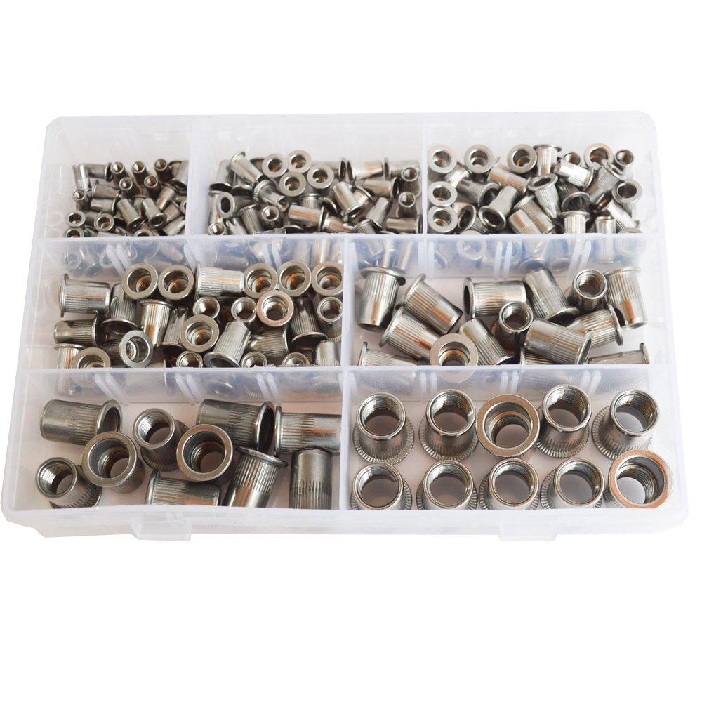 185Pcs Rivet Nut Flat Head Metric Threaded Rivnut Insert Standard Rivetnut  Blind Nutsert Assortment Kit Set M3 M4 M5 M6 M8 M10 M12,304Stainless Steel