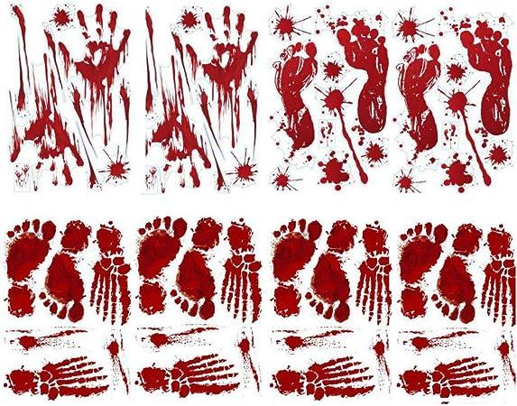 Horror Wall Floor Window Decor for Halloween Decor Vampire Zombie Party Decals Halloween Decorations, 8 Sheets Bloody Footprints Floor Clings,Bloody Handprint Footprint Window Clings Decals