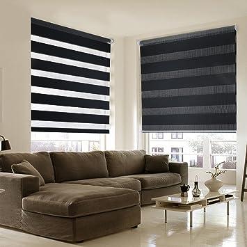 Shiny Home 90 X 150 Cm Le Store Jour Nuit Tamisant Enrouleur Sans Percage Translucide En Noir Pour La Decoration De La Maison Moderne