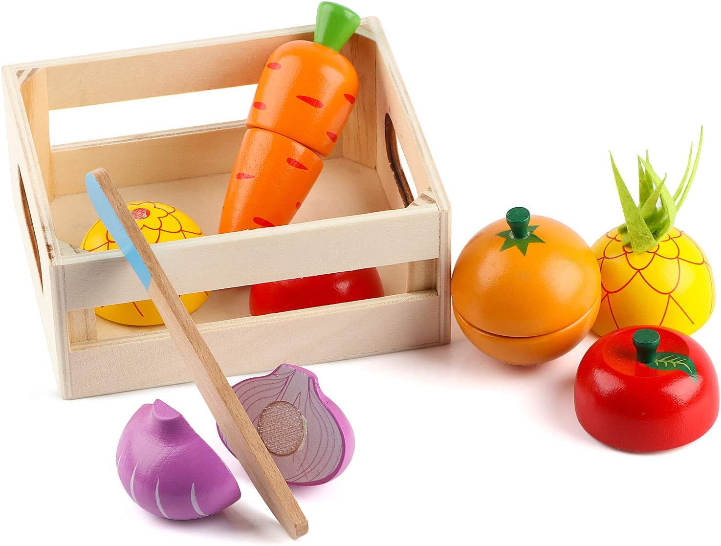 Wondertoys Wooden Food Cutting Toys for Toddlers - Toys Food Vegetables and Fruit for 2 Year Old Boys Girls Cutting Toys Pretend Food for Kids Early Montessori Education
