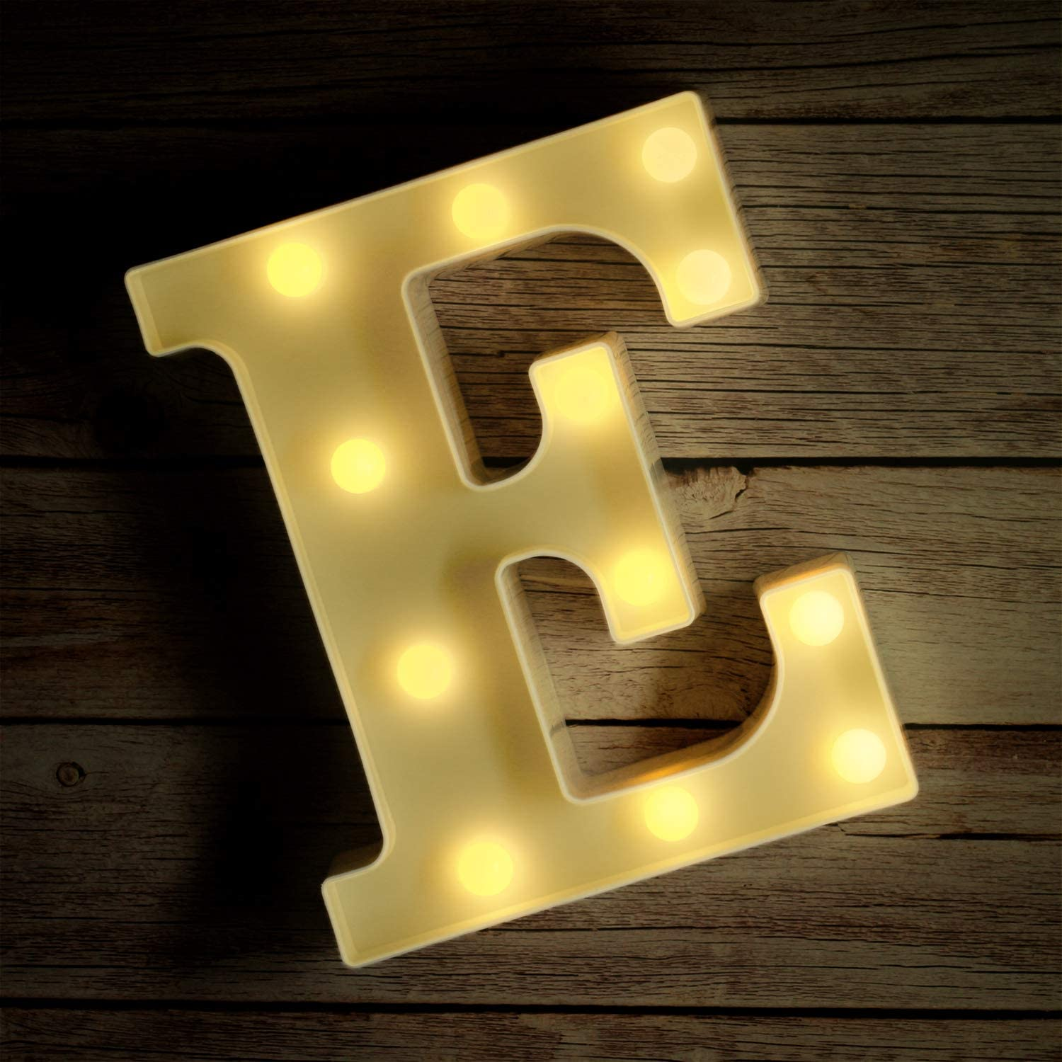Novelty Place Alphabet Light - Marquee Letters Sign with Shining Bulbs, Standing Night Lamp for Wedding Home Party Bar Décor - Battery Powered, Warm White (Letter E)
