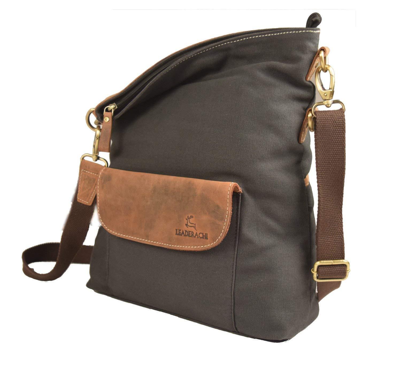f7b2618fc19f LEADERACHI Gray Hunter Leather Crossbody Messenger Bag  Amazon.in  Bags