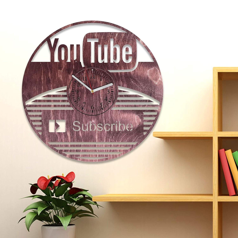 foto de Amazon.com: NadezhdaShop YouTube Wall Clock YouTube Wooden Clock ...