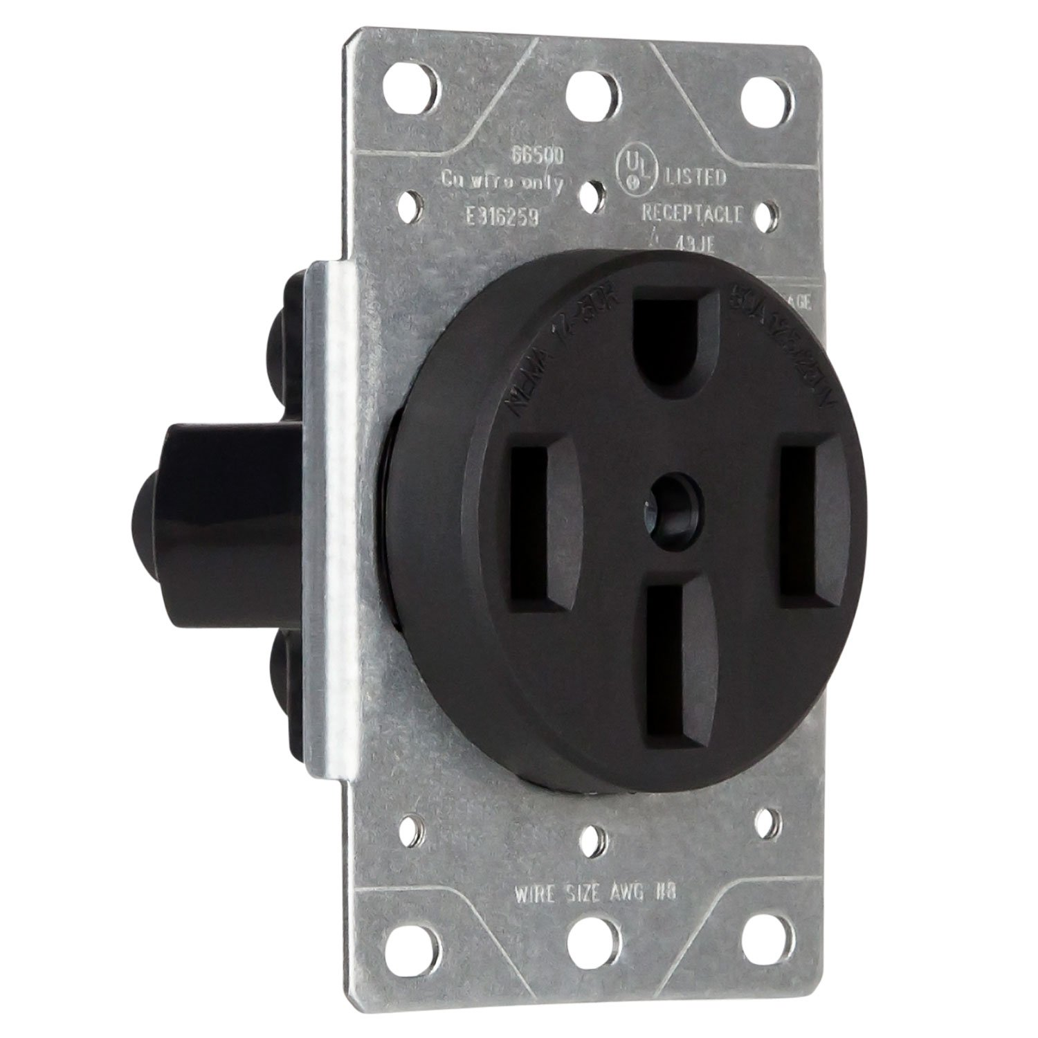 ENERLITES 50 Amp Outlet for Dryer/Stove/Oven/Range, Generator, RV, Electric Vehicles (Tesla, Toyota, Honda, Chevy) | 66500 NEMA 14-50R, Indoor/Outdoor, 125/250 Volt, 3P 4W, Female Plug, Black