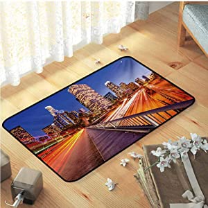 "Night Bathroom Mats, USA Downtown City Skyline over the Highway Los Angeles California Travel Destination Home Decor Carpet Durable Non Skid Rug for Living Room Kids Room, W31""x L47"" Multicolor"