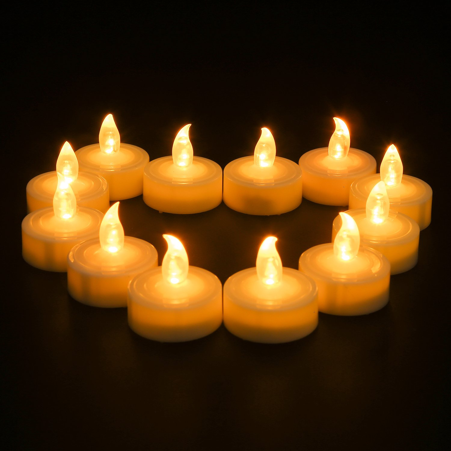 Battery Operated LED Tea Lights, Pack 24 Flameless Tealights Candles, Amber  Yellow Flickering Bulb