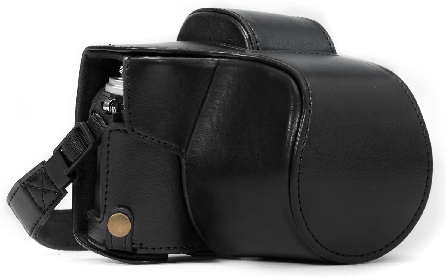 MegaGear Ever Ready Leather Camera Case Compatible with Olympus OM-D E-M10 Mark II, E-M10 (14-42mm)