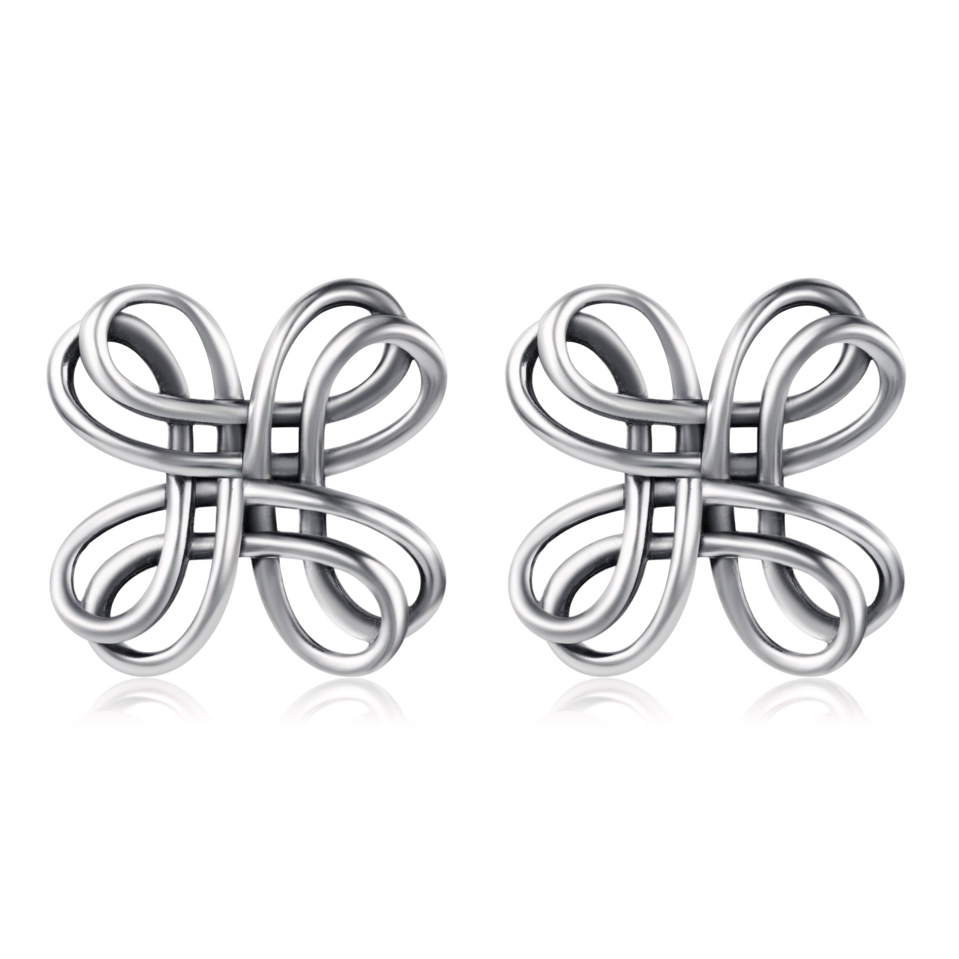 Celtic Knot Studs 925 Sterling Silver Oxidation Polished Celtic Knot Cross Bow Stud Earrings (Celtic knot earrings 1)