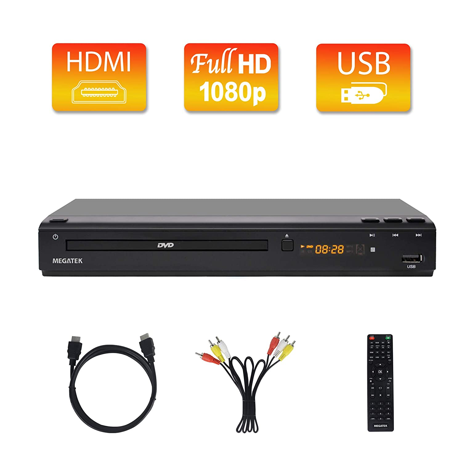 [Upgraded] Megatek Multi Region DVD Player, HDMI Full HD 1080p Upscaling, USB Direct Playback, Free 5-Feet HDMI Cable, Premium Middle Size Metal Case, New User-Friendly Remote Control