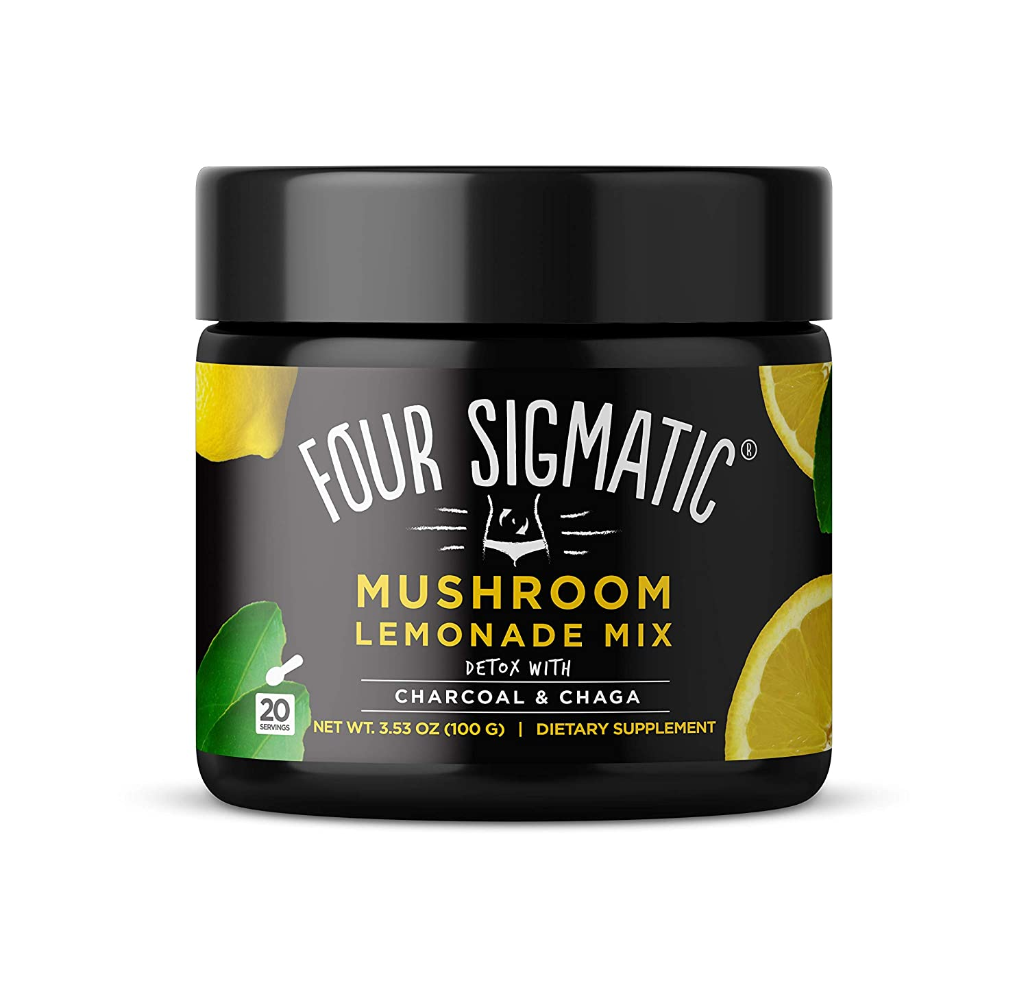 Four Sigmatic Mushroom Lemonade with Activated Charcoal and Chaga – Detox Digest – 100 gram – 20 servings