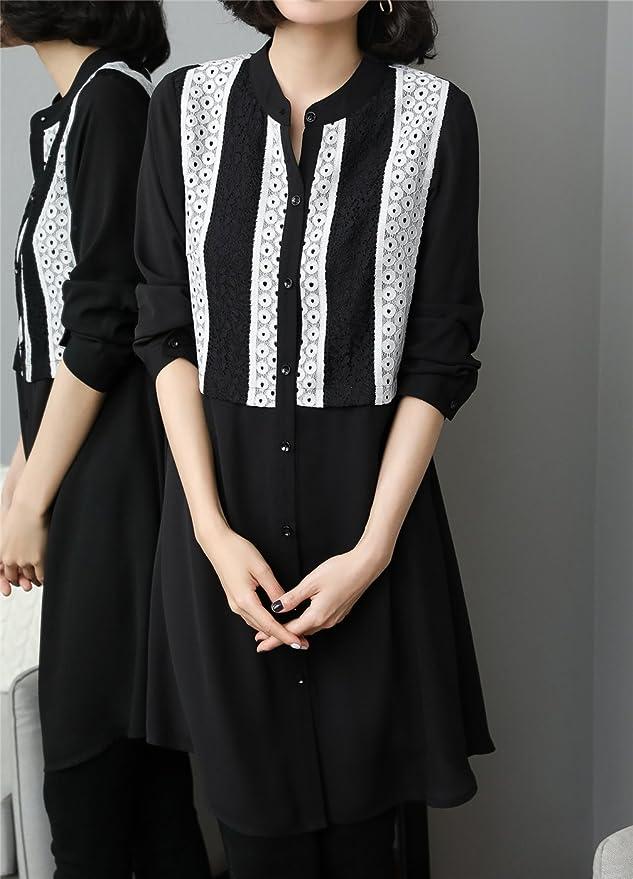 Luna et Margarita Robe Chemise Grande Taille 50 Boutons Dentelle Et Mousseline  5xl Col Montant  Amazon.fr  Vêtements et accessoires f3106c8a398e