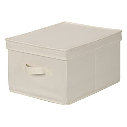 Household Essentials 113 Storage Box With Lid And Handle   Natural Beige  Canvas   Large
