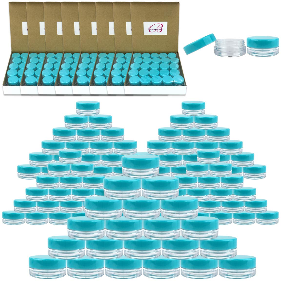 (Quantity: 1000 Pieces) Beauticom 3G/3ML Round Clear Jars with TEAL Sky Blue Lids for Scrubs, Oils, Toner, Salves, Creams, Lotions, Makeup Samples, Lip Balms - BPA Free by Beauticom