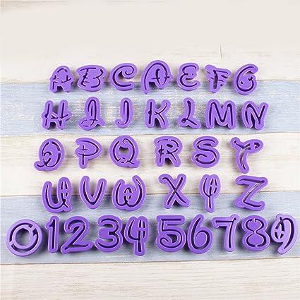 QPSSP Molde Plastico 26 Letras En Ingles, 10 Digital Flip Azúcar Galletas, Troquelado,