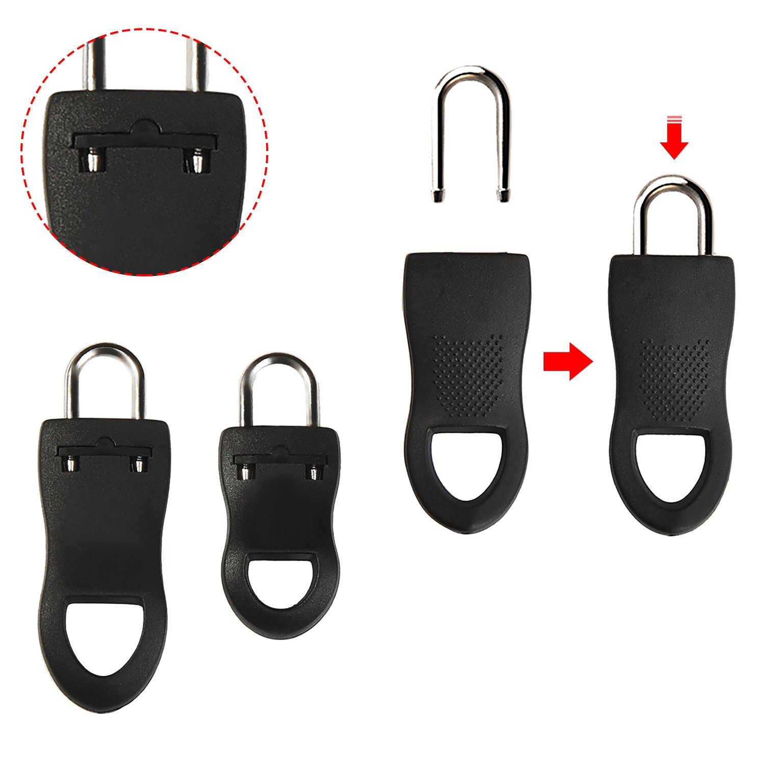 Black Hicarer 48 Pieces Zipper Pulls Zip Fixer Tags Zipper Repair Tabs Replacements for Clothes Bags and Crafts