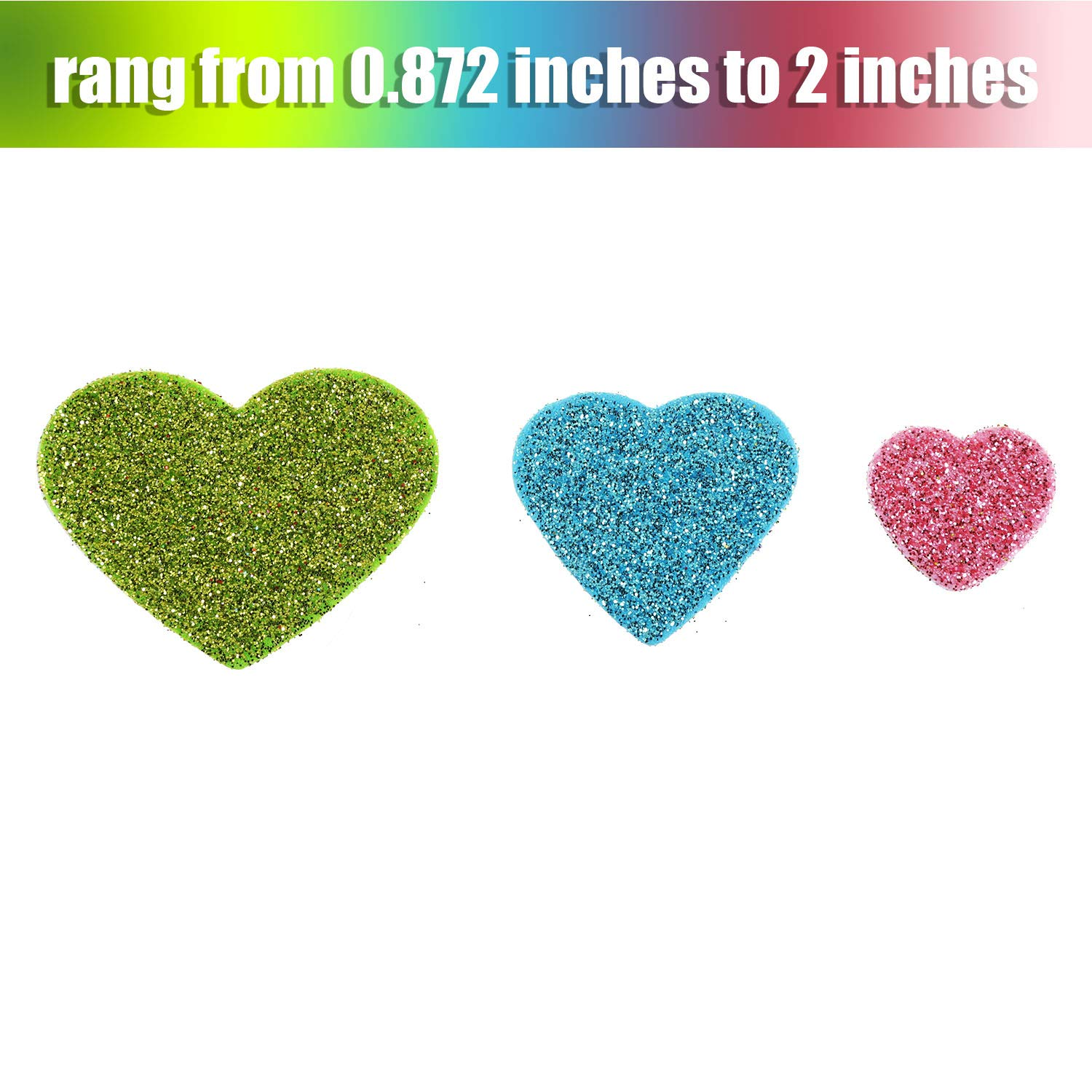 200 Zhehao Glitter Heart Shape Stickers Foam Stickers Colorful Self-Adhesive Decals for Valentines Day Wedding Supplies Assorted Sizes