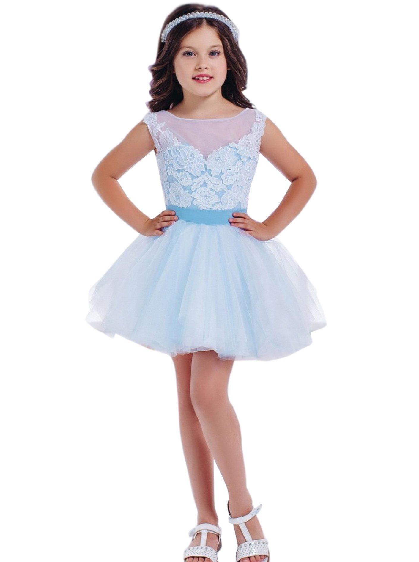 Kelaixiang Light Blue Short Lace Wedding Flower Girl Dress (2)