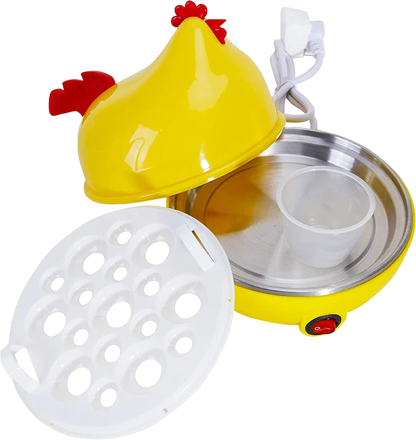 Egg Poacher Electric Rapid Cooker – All-in-One Kitchen Machine for Poached Eggs, Omelette, Hard Boiled & Scrambled Eggs - 7 Egg Capacity with Auto Shut Off Feature, Yellow