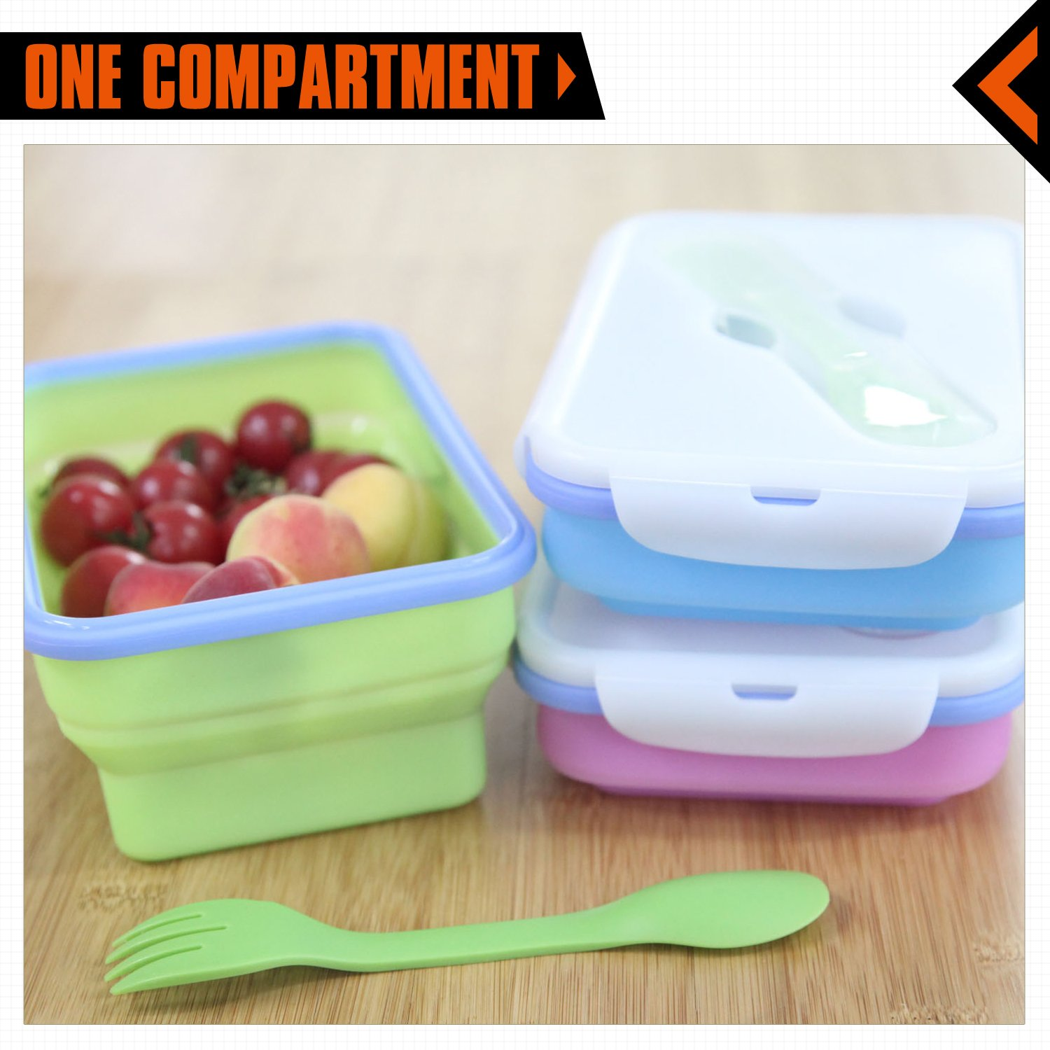 KingCamp Silicone Collapsible BPA Free Microwave Dishwasher and Freezer Safe Camping Food Container