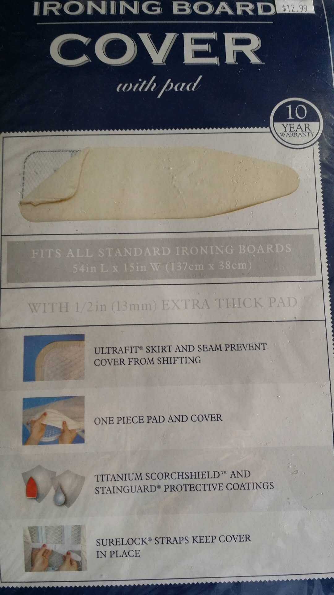 J&J home fashion Off White Ironing Board Cover Reversible Use