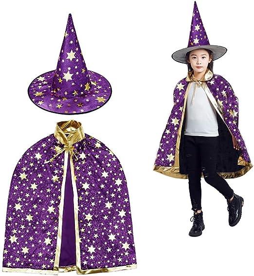 MUCHEN SHOP Sombrero de Brujo Infantil,Capa de Mago de Halloween ...