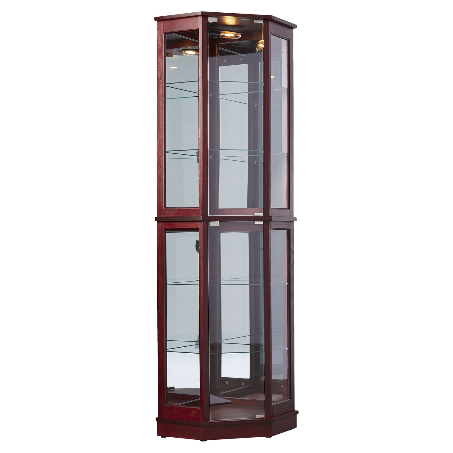 Tall Lighted Corner Curio Cabinet - Corner Hutch for Collectibles, China or as a Liquor Cabinet - Display Case with 2 Shelf Platforms, 4 Adjustable and Removable Glass Shelves and Mirrored Back
