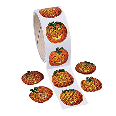 Fun Express - Prism Pumpkin Stickers for Halloween - Stationery - Stickers - Stickers - Roll - Halloween - 1 Piece: Toys & Games
