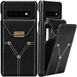 FYY Cowhide Genuine Leather Wallet Case for Samsung Galaxy S10, Lightweight Handmade Large Capacity Flip Phone Case Protectiv