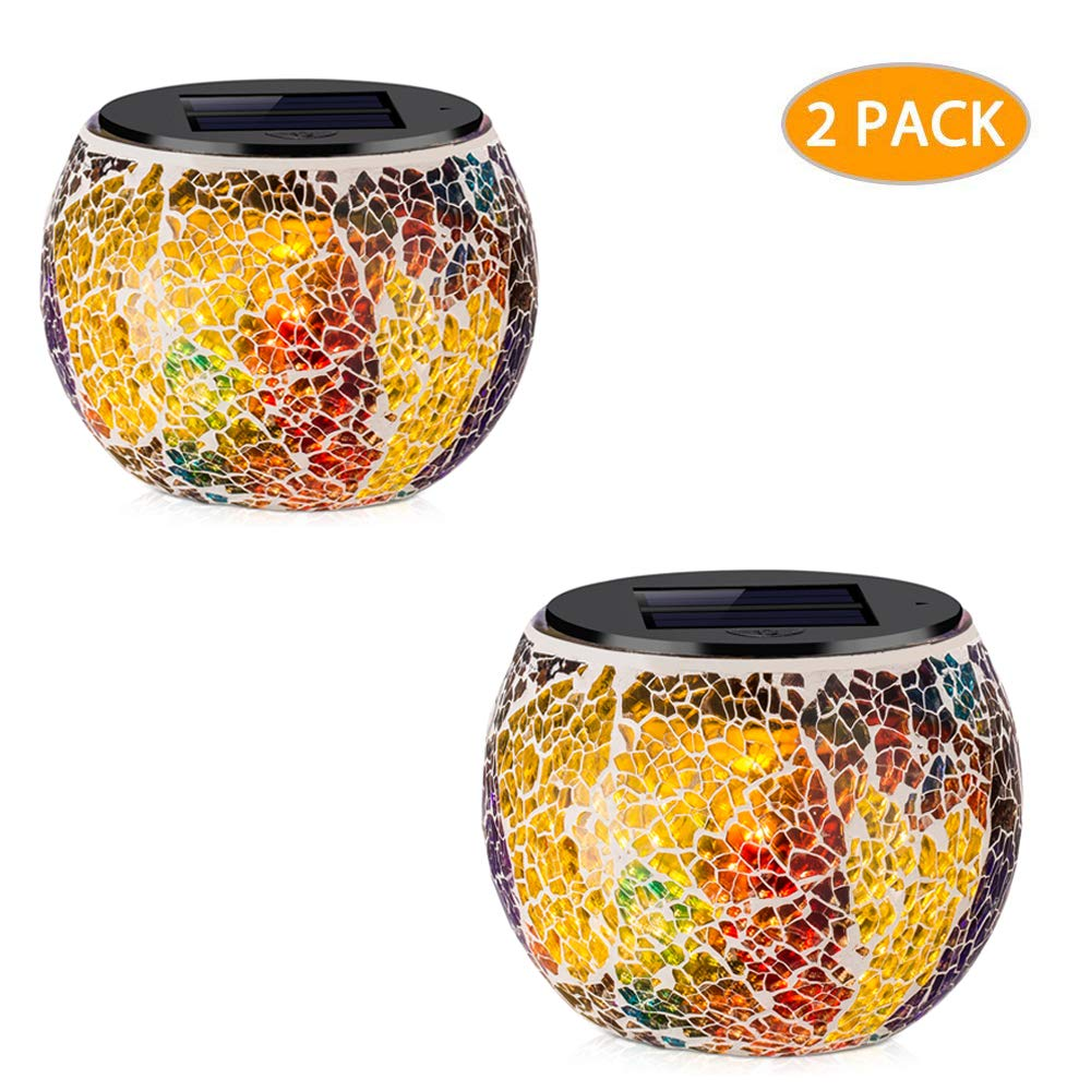 voona Solar Mosaic Glass Table Lights 2 Pack Waterproof Warm White LED Multi-color Night Lights Table Lamps Outdoor Garden Indoor Decoration (Multi-colored) by voona