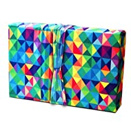 Gift Wrap - Stretchy Fabric, Reusable and Eco Friendly - Multicolored Triangles (Medium)
