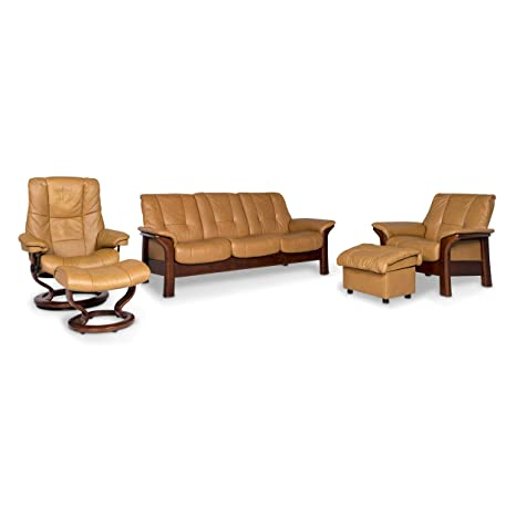 Stressless Windsor Designer Leather Sofa Set Braun 1x Three ...