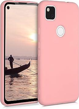 Protector Trasero en Oro Rosa Metalizado kwmobile Funda Compatible con Google Pixel 4a Carcasa m/óvil de Silicona