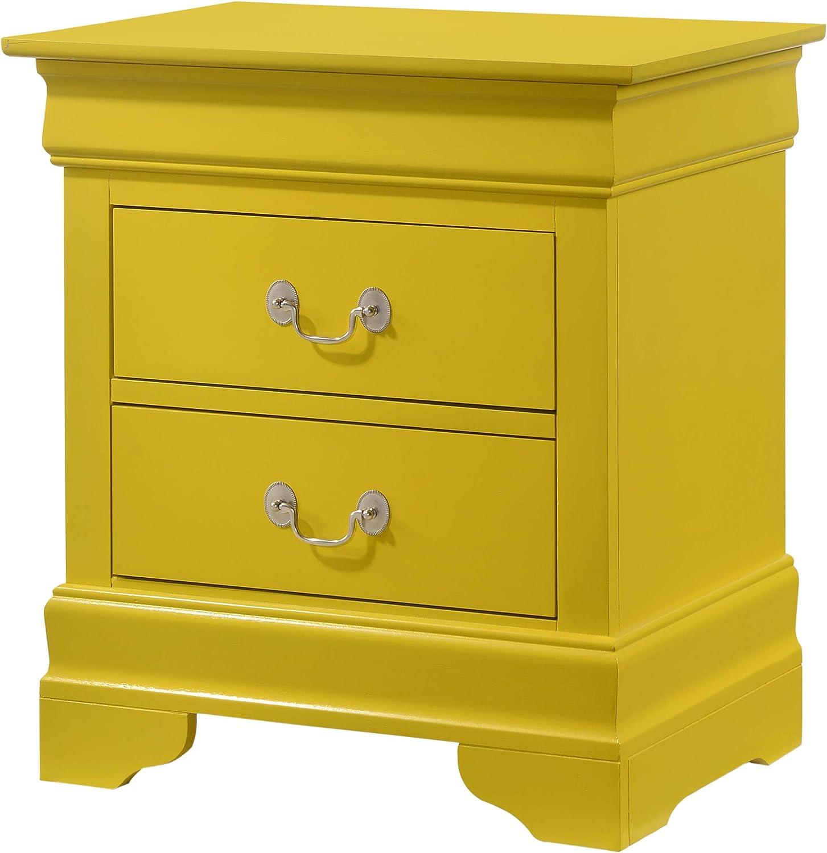 Glory Furniture Louis Phillipe , Yellow Nightstand, 24