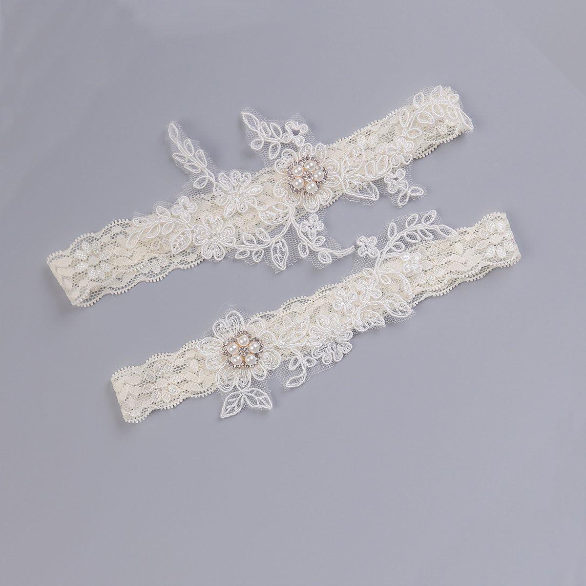 Blanc, Noir, Rose Jarretiere Mariage Dentelle Noeud Strass Simple NEUF T