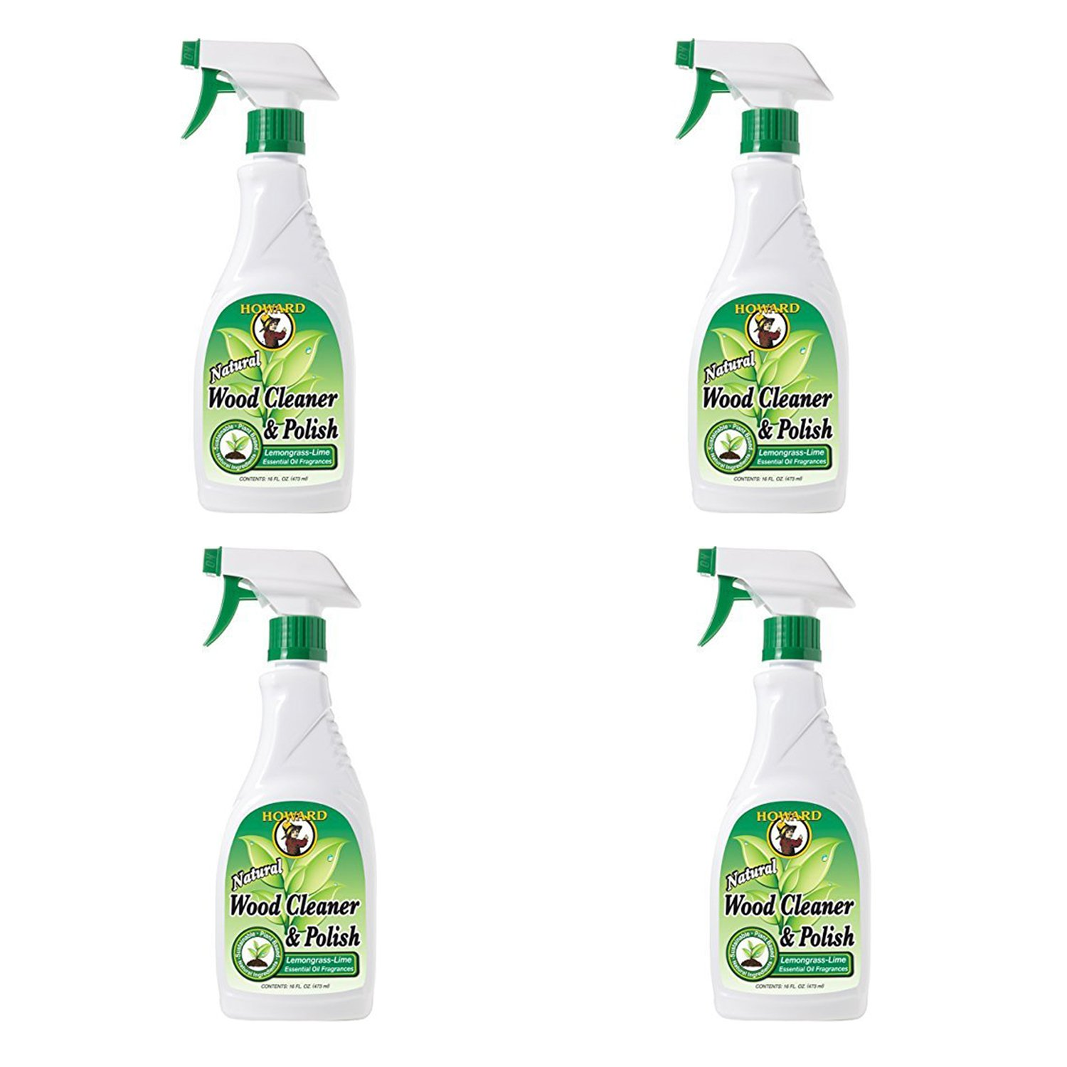 Howard - WC5012 Wood Cleaner and Polish, (16-Ounce), (Lemongrass-Lime) (4-Pack)