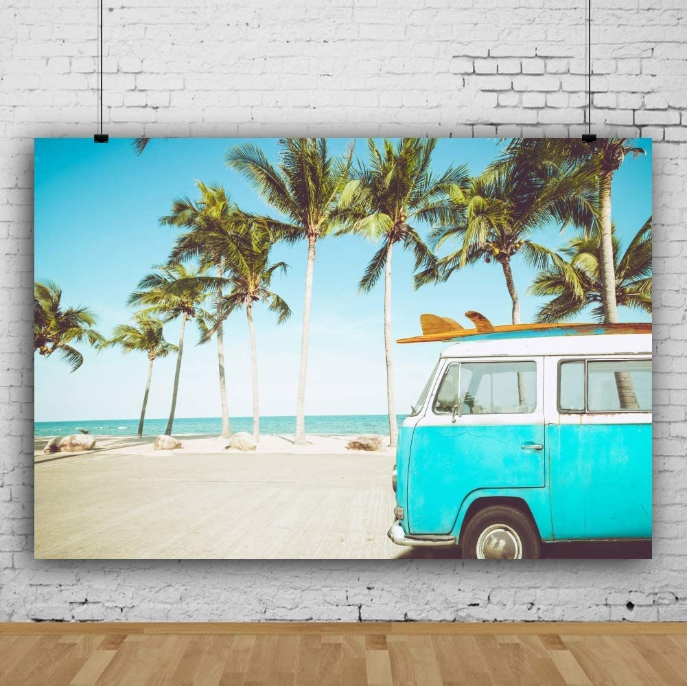 10x6.5ft Beach Surfboard Summer Holiday Cute Car Polyester Photography Background Sea Coconut Tree Swim Party Studio Photo Prop Resort Family Lover Tour Decorate Backdrop