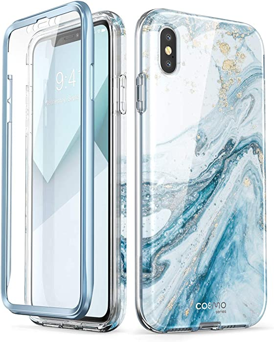 i-Blason Cosmo Full-Body Case for iPhone Xs/ iPhone X Case 2018 Release, Blue, 5.8""