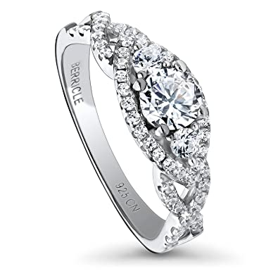 b50472ca03a47 BERRICLE Rhodium Plated Sterling Silver Halo 3-Stone Woven Promise  Engagement Ring Made with Swarovski Zirconia Round 0.92 CTW