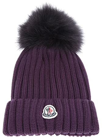 Moncler Woman s Purple Ribbed Beanie Hat  Amazon.co.uk  Clothing d43869915