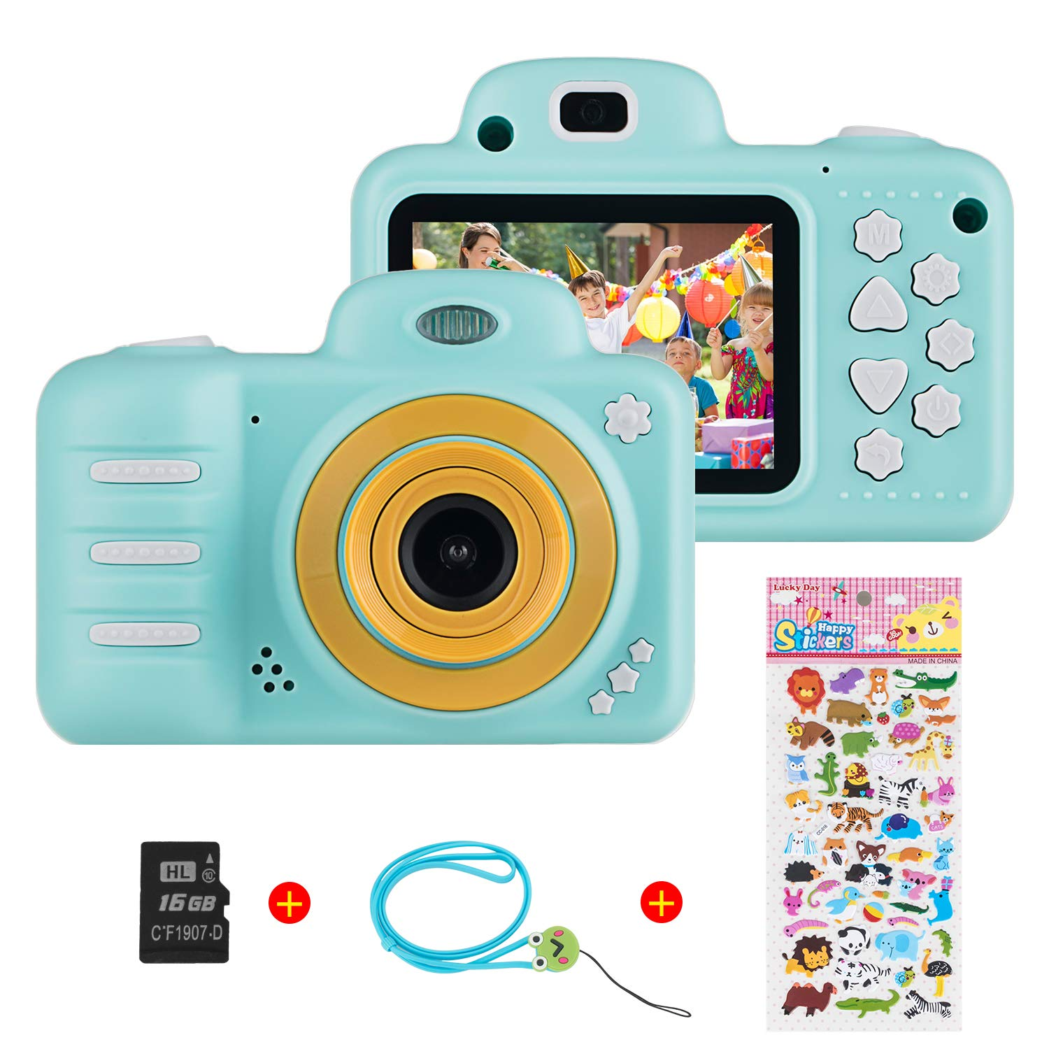 Themoemoe Kids Camera, Camera for Kids Video Cameras Kids Digital Camera 8MP 1080P HD Toys for 3-10 Year Old Girl with 16GB TF Card (Blue)