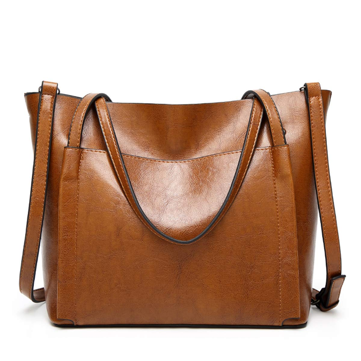 QIN LX Lady Leather Shopping Messenger Purse Top Handle Handbags Women's Shoulder Tote Satchel Bag (brown) by QIN LX (Image #1)